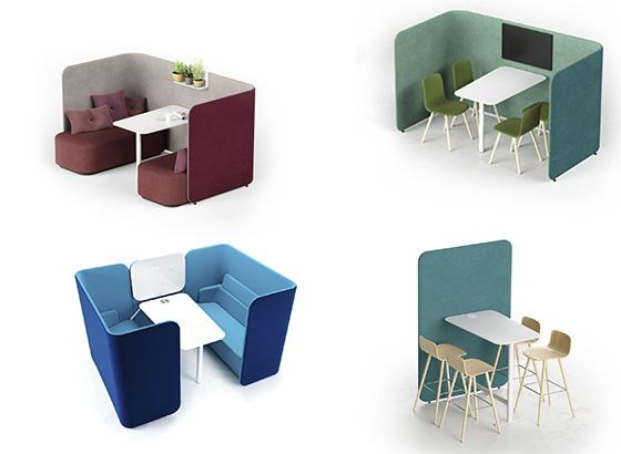 mobiliario para crear mini espacios para reuniones en oficinas abiertas y agiles